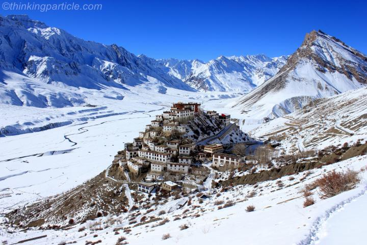 Top view of Key Gompa from trail to Gete